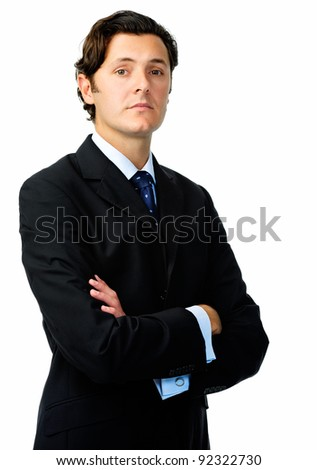 Confident businessman poses for a portrait with a straight face in studio isolated on white - stock photo