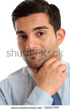 Confident businessman thinking, considering and smiling.  Closeup, white background. - stock photo