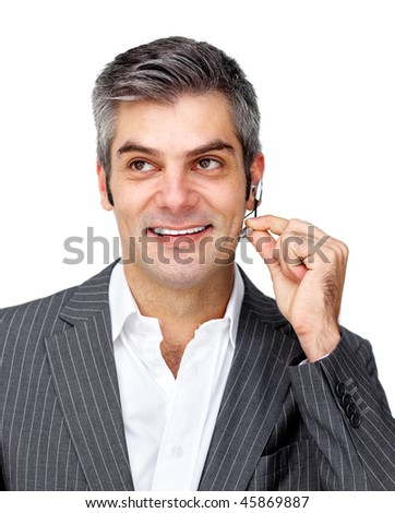 Confident businessman using headset isolated on a white background - stock photo