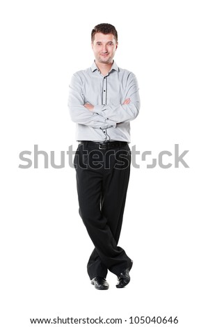 confident businessman with folded hands standing over white background