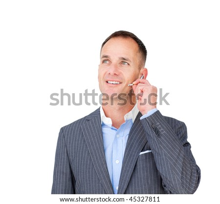 Confident businessman with headset on against a white background - stock photo