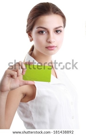 confident businesswoman holding a blank green card  - stock photo
