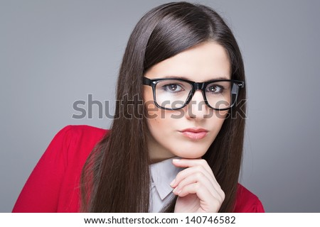 Confident businesswoman wearing glasses
