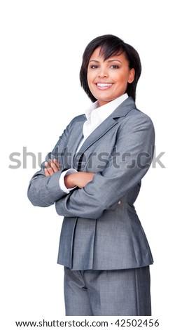 Confident businesswoman with folded arms against a white background - stock photo
