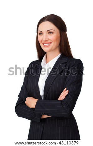 Confident businesswoman with folded arms against a white background