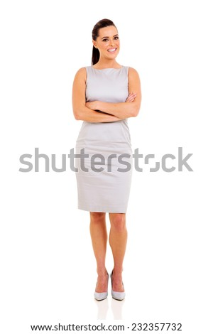 confident career woman portrait with arms crossed - stock photo