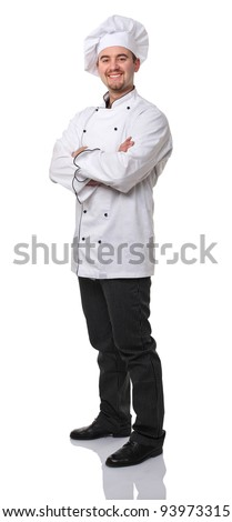 confident caucasian chef on white background - stock photo