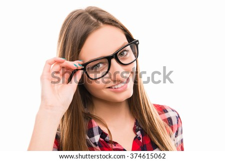 Confident cute young woman with glasses