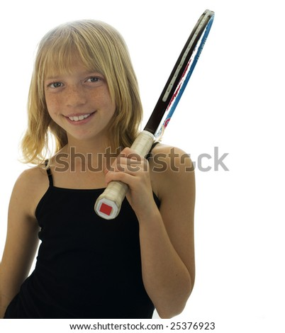 Confident Elementary Age Girl with Tennis Racket. - stock photo