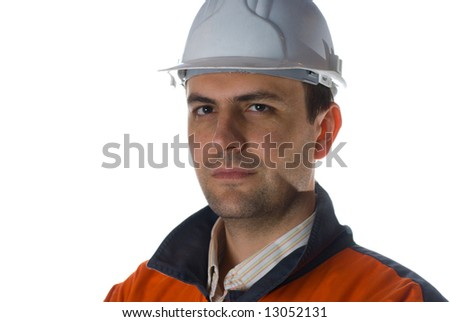 Confident Engineer isolated on white with copy space stock photo