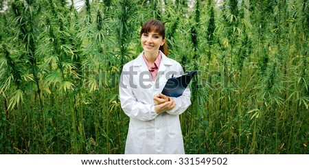 Confident female doctor with clipboard posing in a hemp field, alternative herbal medicine concept - stock photo