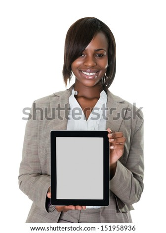 Confident female executive displaying a touchscreen pc isolated on white background. - stock photo