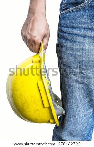 Confident foreman concept on white background - stock photo
