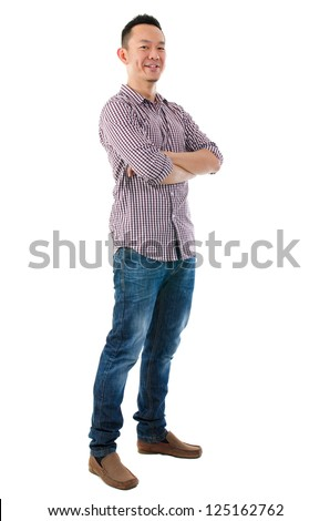 Confident full body Asian man standing  isolated on white background - stock photo