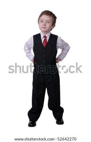 confident handsome attractive young boy dressed in suit looks off to his bright future on white background.