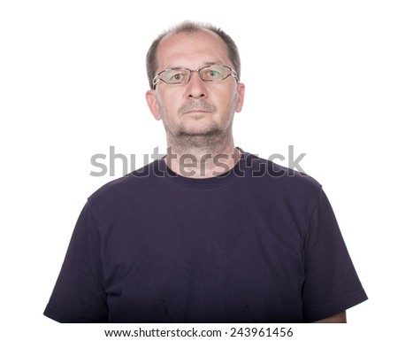 Confident handsome man closeup portrait isolated on a white - stock photo