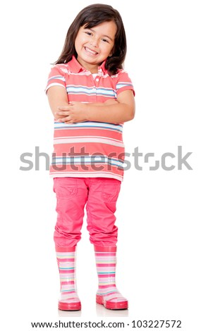Confident little girl with arms crossed - isolated over a white background - stock photo