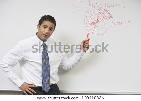 Confident male African American professor teaching in classroom
