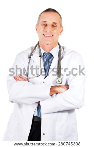 Confident male doctor with folded arms.