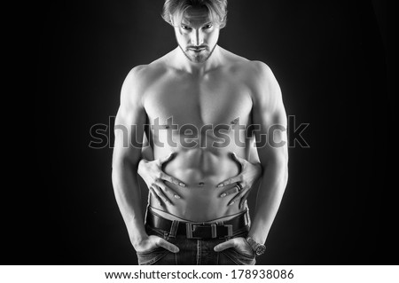 Confident man and woman hands studio portrait. Black and white image.  - stock photo