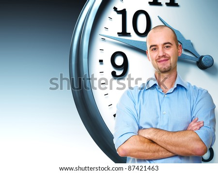 confident man crossed arms and 3d clock - stock photo