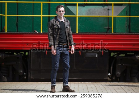 Confident man posing in selvedge  jeans - stock photo