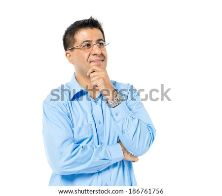 Confident Man Standing and Contemplating - stock photo