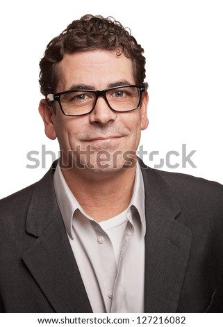 Confident man with glasses isolated on white background