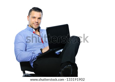 Confident man with notebook computer isolated on white - stock photo