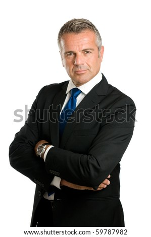 Confident mature businessman looking at camera with satisfaction isolated on white background