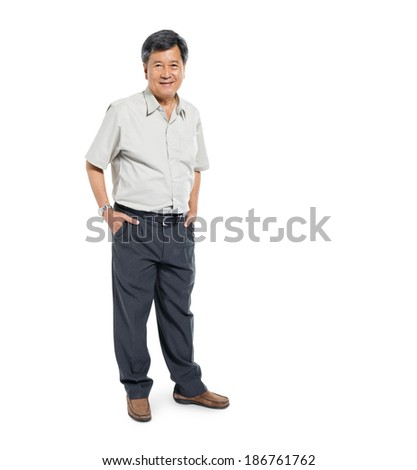 Confident Mature Man Standing and Smiling - stock photo