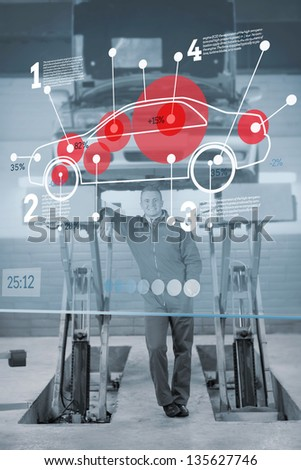 Confident mechanic standing under futuristic interface with car diagram and statistics in black and white - stock photo