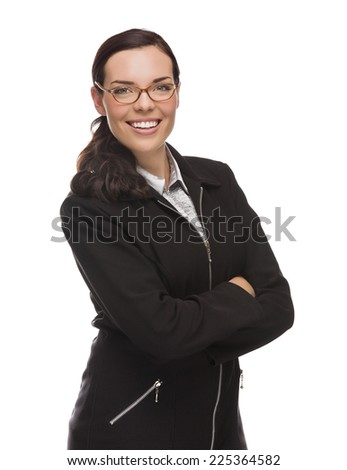 Confident Mixed Race Businesswoman Isolated on a White Background. - stock photo