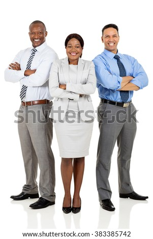 confident multiracial business group arms crossed - stock photo