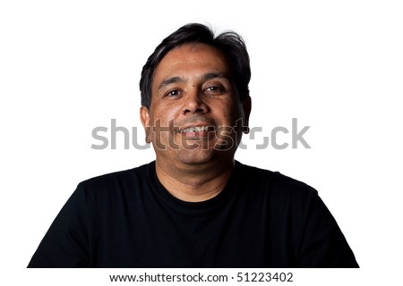 Confident portrait of a middle aged indian man. Isolated image - stock photo