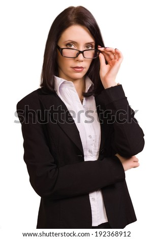 Confident pretty business woman over white background