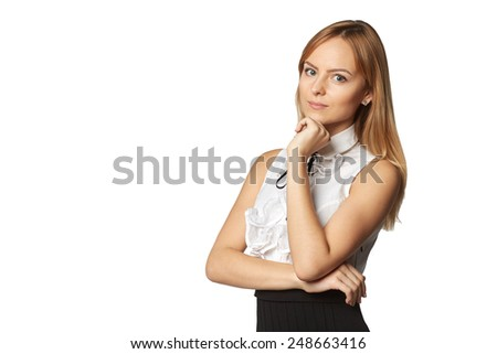 Confident smiling elegant woman in dress standing in full length over white studio background - stock photo