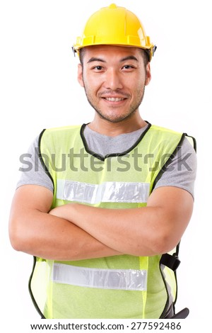 confident, strong construction worker on white background - stock photo