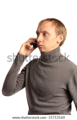 confident strong man on the phone and looking sideways isolated on a white background - stock photo