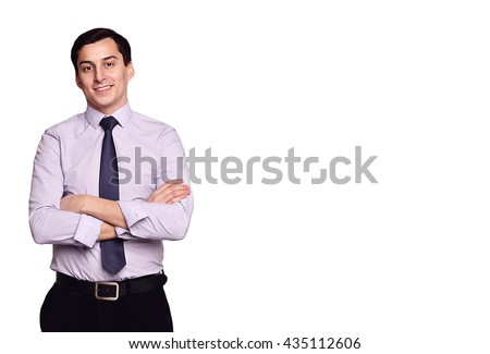 Confident successful young handsome smiling man businessman in black classic pants, white shirt and tie on grey background with copy space. Manhood. Male beauty. Fashion model shot. Italian style.  - stock photo