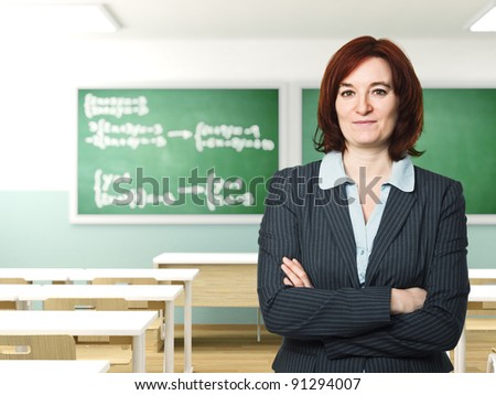 confident teacher and classroom background