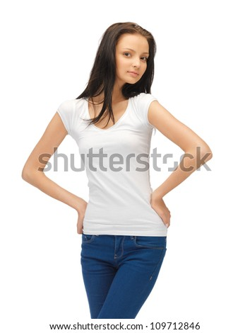 confident teenage girl in blank white t-shirt - stock photo