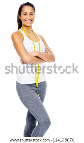 confident weightloss woman isolated on white background - stock photo