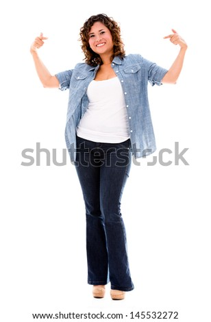 Confident woman pointing at herself - isolated over white background  - stock photo