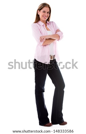 Confident woman with arms crossed - isolated over a white background  - stock photo