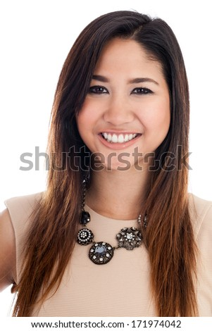 Confident young Asian businesswoman headshot portrait isolated on a white background - stock photo