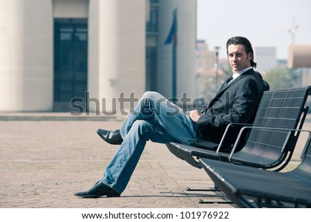 Confident young business man portrait outdoor. - stock photo