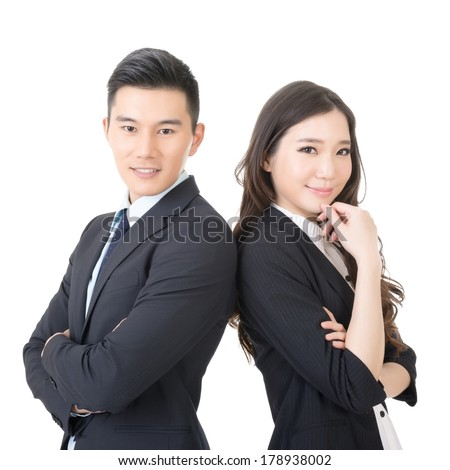 Confident young businessman and businesswoman, closeup portrait on white background. - stock photo