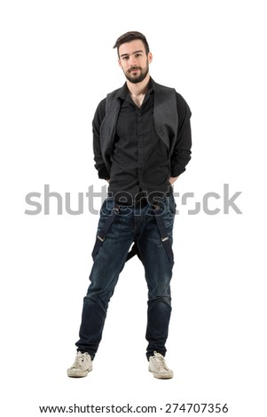 Confident young male fashion model with hands on his back. Full body length portrait isolated over white background. - stock photo