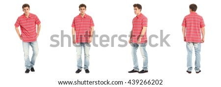Confident young man portrait wearing jeans isolated in white - stock photo
